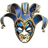 Máscara de bufón Veneciano de Halloween Máscaras de Disfraces Festival de Cara Completa Máscara de Fiesta de Anime Disfraz de Fiesta de Carnaval de Halloween Máscara de Ojos,Azul
