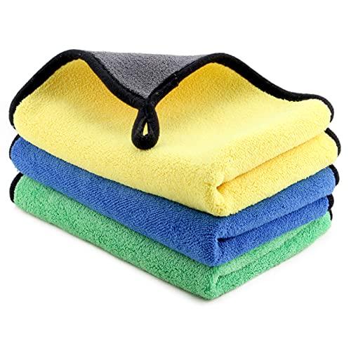 Ossky 3 PCS Paños limpia Coche,Bayetas limpieza microfibra, Toalla Absorbente para cocina,Balletas Limpieza para Coche Moto Bicicleta(Azul + amarillo + verde )