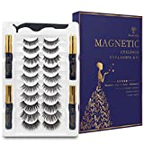 Natural Look Magnetic Eyelashes with Eyeliner Kit, 4 Tubes Magnetic eyeliner Waterproof Black and 10 Style Reusable 3D 5D Magnetic Lashes for Women,No Glue Needed. Easy to Apply.
