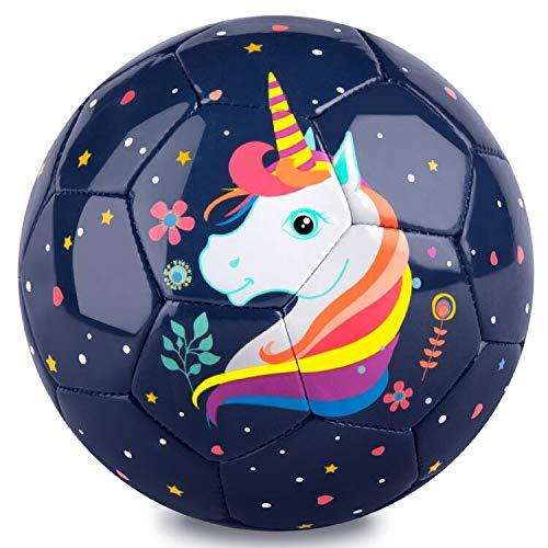 PP PICADOR Fußball mit Ballpumpe, Kinderfußball Größe 3 für Kleinkind Jungen Mädchen, Geschenke Spielzeug Ball für Indoor Outdoor Training(Dunkelblaues Einhorn)