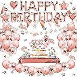 Decoración de globos de cumpleaños, globos de oro rosa, adorno para tarta, globos de látex de aluminio para hombres y mujeres adultos, mantel para decoración de fiesta de cumpleaños
