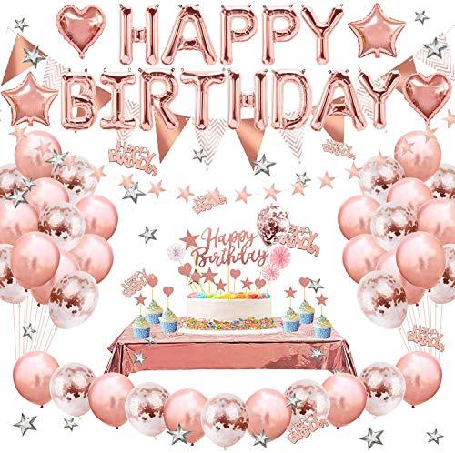 Decorazioni per Feste di Compleanno, Set di Forniture per Feste in Oro Rosa Buon Compleanno Banner Star String Palloncini di Coriandoli Torta Topper Tovaglia con Frange in Lamina