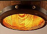 1* Pendelleuchte Vintage Hängeleuchte Retro Edison Loft Kronleuchter E27 Höhenverstellbar Industrielle Deckenleuchte Hölzerne Tonne Art Pendellampe für Esszimmer Keller Cafe Bar (Ohne Birne) - 6