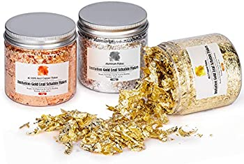 3-Pack Coquimbo Metallic Imitation Gold Leaf Foil Flakes Bottles