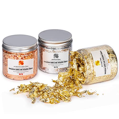 Coquimbo Gold Flakes Foil Flakes for Resin, 30 Grams Color 2.5 Imitation Gold, Silver, Color 0 Real Copper, 3 Bottles Gold Leaf Metallic for Painting Arts and Resin Crafts, Nail Art