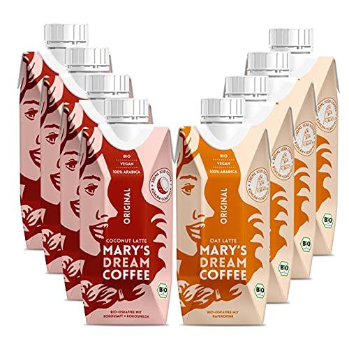 MARY'S DREAM COFFEE Probiert-Set - 4x BIO Coconut Latte & 4x BIO Oat Latte (8x 330 ml) | 100% Arabica-Bohnen, Kokossaft und Kokosmilch und Haferdrink | Mary's Coffee ist Soja- und laktosefrei [vegan]
