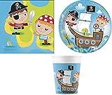 ILS I LOVE SHOPPING Kit de fête ou d'anniversaire coordonné pour 8 personnes, motif pirates, pour garçon