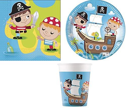 ILS I LOVE SHOPPING Kit de fête coordonné, table pour décorations de fête, set d'anniversaire (Pirate Bimbo, lot de 8 personnes)