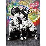 Lienzo Pintura Retrato Imagen Figura Arte de pared Graffiti Decoración del hogar Cuadros abstractos Bansky art Pop Posters e impresiones 40x50cm (15.7'x19.7') Con marco