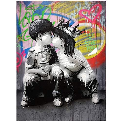 """Lienzo Pintura Retrato Imagen Figura Arte de la pared Graffiti Decoración del hogar Cuadros abstractos Bansky art Pop Posters e impresiones 60x80cm (23.6""""x31.5"""") Con marco"""