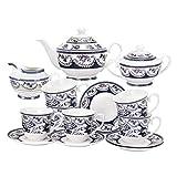 fanquare 15 Pezzi Servizio da tè in Porcellana Vintage, Set Tazzine da caffè in Ceramica con Fiori Blu, Servizio di caffè per Adulti