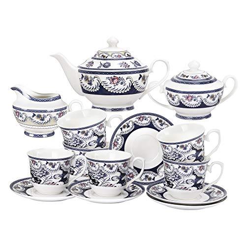 fanquare 15 Piezas Juegos de Té de Porcelana Vintage Azul, Juego de Café de Flores,Servicio de Té para Adultos