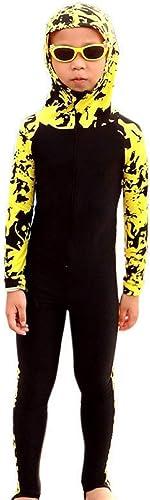 QSFDM Costume de plongée Nouveaux Enfants Lycra Combinaisons à Manches Longues à Capuche Fleur Imprimer Combinaisons De Plongée Enfants Full Body Maillots De Bain Surf Combinaisons De Plongée