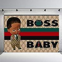 スタジオバナーの装飾 浅黒い肌のボスの赤ちゃんがグレーのスーツを着ている シームレスな写真 青、赤、黒、濃い線のジオメトリ ビニールバックグラウンドシュート 現代の