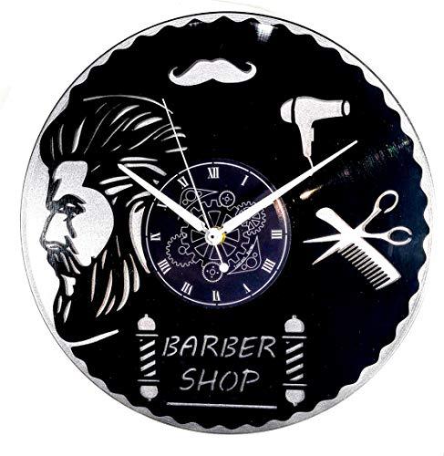 Instant Karma Clocks wandklok, dubbel vinyl, voor kappers, barber shop (zilver), vintage, stil design