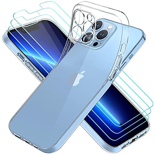 iVoler Custodia Cover Compatibile con iPhone 13 PRO Max 6.7 Pollici, con 3 Pezzi Pellicola Vetro Temperato, Ultra Sottile Morbido TPU Trasparente Silicone Antiurto Protettiva Case