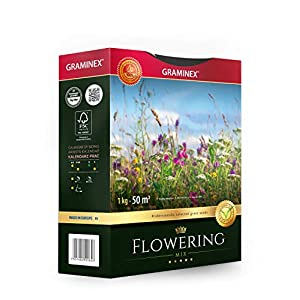 Graminex Flowering Mix Grass Seeds, Premium, Professional's Choice for Natural Flower Wild Meadow, Made in EU, 1kg for up to 50 sqm (540 sq ft)