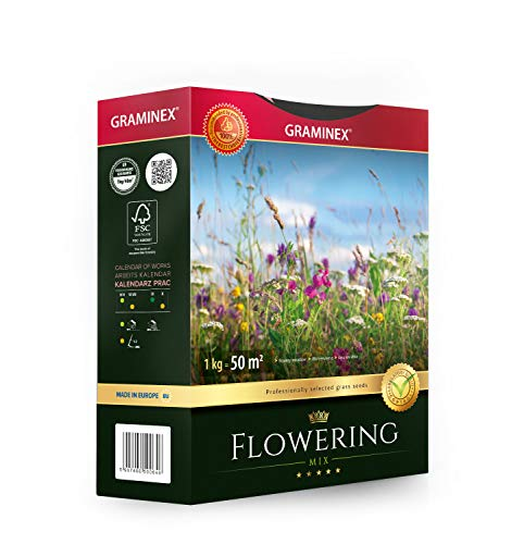 Graminex Flowering Mix Rasensamen mit Wildblumensamen, Mehrjährig Mischung Saatgut für Wildblumenwiese, Bienen freundlich Sommerblumenmischung für Garten, 1 kg für 50 m2