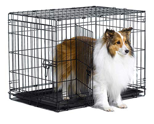 """New World 30"""" Double Door Folding Metal Dog Crate, Includes Leak-Proof Plastic Tray; Dog Crate Measures 30L x 19W x 21H Inches, For Medium Dog Breeds"""