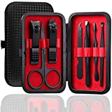 Manicure Set Pedicure Kit Professional 19 Pcs Nail Clipper for Men & Women Stainless Steel Sharp Cutter Grooming Nose Hair Scissors…Black Fingernails & Toenails with Portable Case (Red_7 pieces)