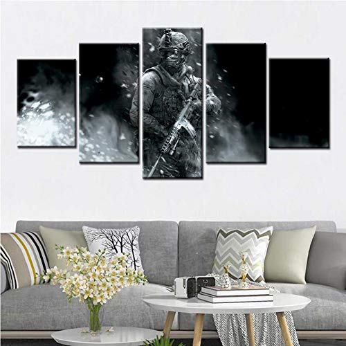WFUBY 5 Pieces Canvas Printing Decorative Paintings Call of Duty Soldier Modern Wall Art Canvas Painting Posters and Prints Games Wall Pictures for Living Room Home Decor-30x40x2 30x60x2 30x80cm
