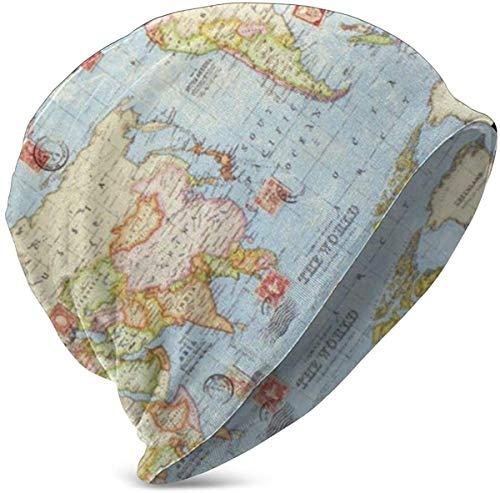 NA Bonnet d'hiver tricoté comme cadeau d'anniversaire de Noël pour adolescents filles garçons (chiens de bétail australiens) Taille unique Atlas World Map Blue Travel