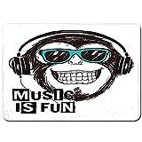 MZTYPLK Antideslizante Alfombra De Baño,Audífonos Music Cool Monkey Slogan y Rock Boy Graphic Gorilla,Alfombra de Cocina Alfombra Mascota,Alfombras de Ducha 80x60cm