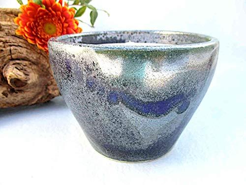 Kerzenfresser Keramik Indoor meerblau, 11 x 8 cm, Wachsfresser für innen, Schmelzlicht, Tischfeuer, zum Schmelzen von Kerzen- und Wachsresten, mit nicht brennbarem Glasfaserdocht, reine Handarbeit
