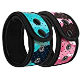 MoKo Sweatproof Ankle Strap Fit Fitbit Inspire/Inspire HR/Charge 2/Charge 3/Alta/Alta HR/Flex/Flex 2/Vivosmart HR/3/4, [2-Pack] Adjustable Fitness Tracker Ankle Band with Mesh Pouch - Blue + Pink
