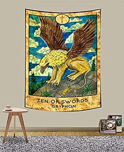 KBIASD Tapiz de Tarot para Yoga StudioGryphon Old Tarot Card Medieval Europa Adivinación Tapiz Estilo Vintage Tapiz para Colgar en la Pared de Colores para decoración del hogar 40 x 60 Pulgadas