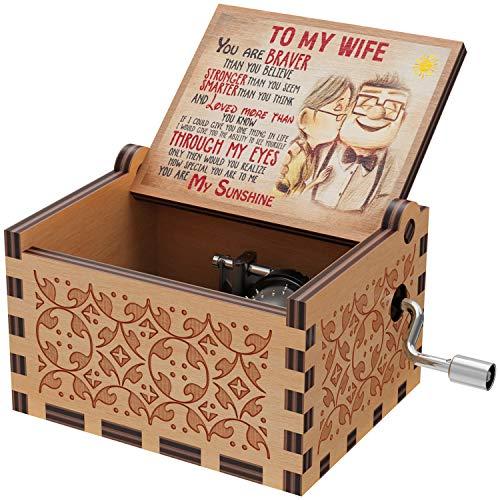 Cajas de música de madera con grabado láser You are My Sunshine para cumpleaños, Navidad, San Valentín (texto en inglés)