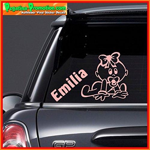 """Hochwertiger Namens Aufkleber \"""" Emilia \"""" Autoaufkleber Name Aufkleber Wandtattoo Aufkleber für Glas,Lack,Tür und alle glatten Flächen, viele Farben zur Auswahl,Auto Sticker Baby an Bord, Kindername,Namensaufkleber"""