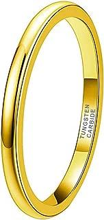 2mm 4mm 6mm 8mm 18K Gold/Rose Gold/Black/Blue Tungsten Rings for Men Women Wedding Bands Domed Polished Shiny/Brushed Finish Comfort Fit