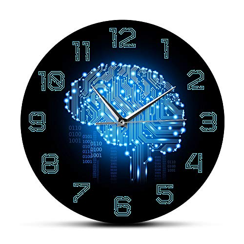 NIGU Día del miembro regalos para las mujeres Código binario Arte Inteligencia Cerebro Reloj de pared Movimiento silencioso Reloj de pared Empresa