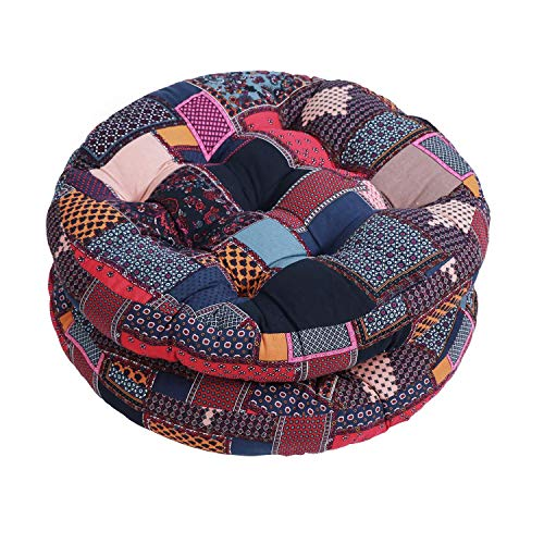 JUSTINLAU Floor Pillows 22 Inch Round Chair Patio Seating Cushion, Bohemian Decor Mandala Cushions Pillows Tatami Futon Mat, Meditation Pillow Floor Pads for Yoga Living Room Sofa Balcony Garden (E)