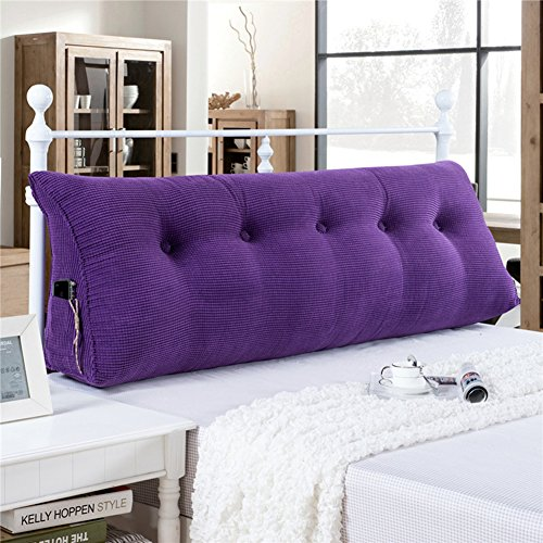 YXCSELL Large Upholstered Headboard Filled Triangular Soft Wedge Cushion Backrest Positioning Support Reading Pillow Lumbar Pad for Sofa Bed with Removable Cover Purple 59 Inches