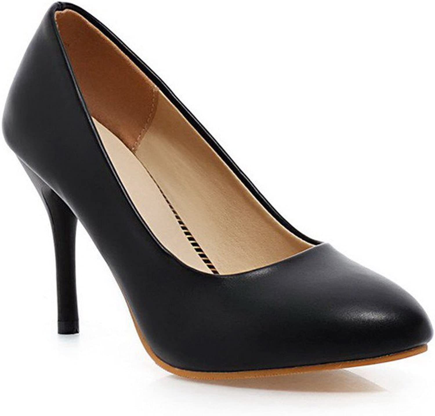 AllhqFashion Women's Pull-on Pointed Closed Toe High-Heels PU Solid Pumps-shoes
