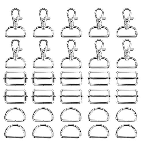 FHzytg 90 Stück Taschenzubehör 30mm D Ringe 25mm, Leiterschnalle D-Ring 30mm Taschenzubehör Set, D-Ringe 25mm Karabiner Nähen Nähzubehör Nähen Taschenschnallen Metall Gurtschieber 25mm zum Nähen