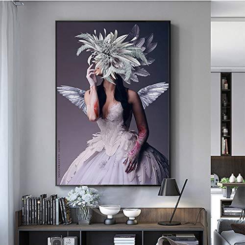 baodanla Frameless olieverf Modern Wall Art Abstract Portret Posters En Printsangel Meisje Met Witte Vleugel En Rode Rose Muur Foto's Voor Woonkamer Cuadrosr Nee