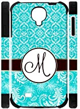 Personalized SkyBlue Vintage European Pattern Vs Maroon Circle Initials Unique Custom Samsung Galaxy S4 I9500 Best Durable Rubber+PC Two-In-One Cover Case Custom Color and Text, New Fashion, Best Gift