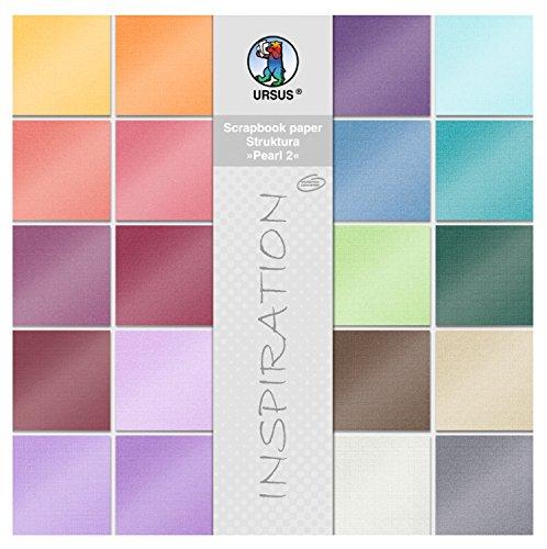 Ursus 81420099 - Scrapbook paper Block Struktura Pearl 2, ca. 30,5 x 30,5 cm, 20 Blatt sortiert in 20 Farben