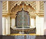 ABAKUHAUS marroquí Cortinas, Arte del Este de la Vendimia, Sala de Estar Dormitorio Cortinas Ventana Set de Dos Paños, 280 x 175 cm, Marfil pálido Azul de Brown