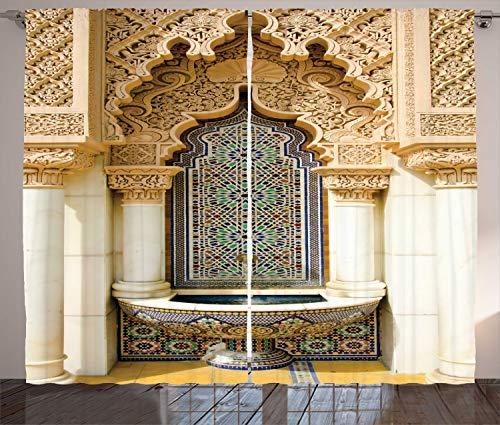 ABAKUHAUS marocain Rideaux, Art Eastern Vintage, Décoration Intérieure Accent Ensemble de 2 Panneaux, 280 cm x 175 cm, Bleu Brun pâle Ivoire