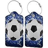 Etiqueta de lujo personalizada de cuero de lujo de la maleta de la impresión del fútbol Set de etiquetas de equipaje de
