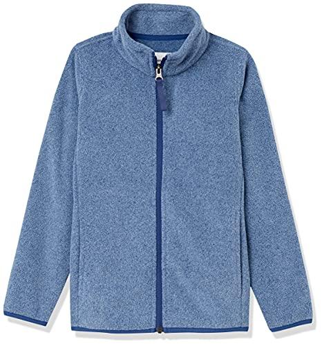 Amazon Essentials Polar Fleece Full-Zip Mock Jackets Chaqueta, Azul Mezcla/Azul Marino, 10 años