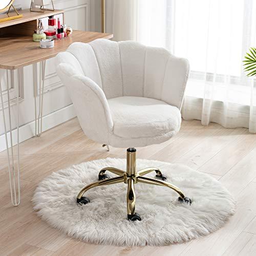 Wahson Bürostuhl aus Kunstfell Drehstuhl mit Rollen Computerstuhl Höhenverstellbar, Schreibtischstuhl für Schlafzimmer/Waschtisch, Weiß