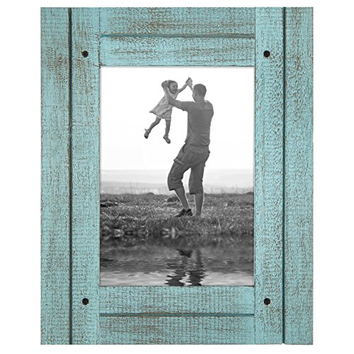 Americanflat 5x7 Rustic Picture Frame in Turquoise Blue with Textured Wood and Polished Glass - Horizontal and Vertical Formats for Wall and Tabletop