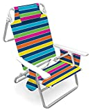 Five position folding beach chair Cup holder, carry strap Pillow headrest Country Of Origin : China