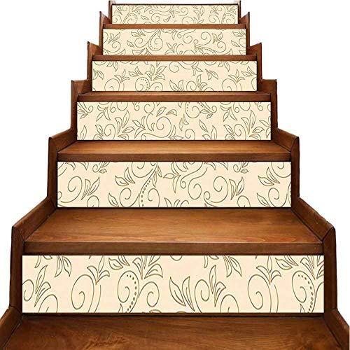 Adhesivo 3D para escaleras, diseño de farolillos forjados de estilo nostálgico, estilo urbano, boho chic, decoración de pared para la familia, el hogar, la escalera,, Amarillo-04, 7'x39.3'x6pcs