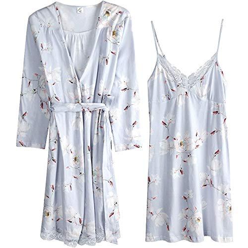 DFDLNL Conjunto de 2 Piezas para Mujer, 100% algodón, Batas de Kimono, lencería para Mujer, camisón de Encaje para Fiesta de Boda, Albornoz, Pijama para Mujer XL